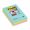 3M 4690-SS3-MIA Post-it Super Sticky Miami Colour Notes 101x153 Lined [3] | Colourful Notes inspired by colourful cities | Fusion Office UK