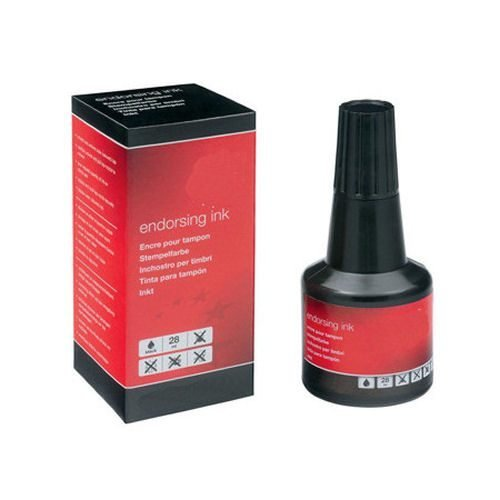 Endorsing Ink Black 25ml | Suitable for all types of ink pads | Nozzle for ink application | Washable ink | Fusion Office