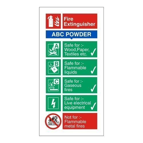 Fire Extinguisher Sign Dry Powder 280x90mm Self Adhesive Vinyl