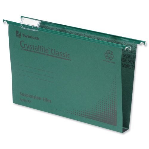 CrystalFile Foolscap Suspension Files Green 50mm Rexel 71750 [Pack 50]   Made using 100% recycled premium manila   Fusion Office UK