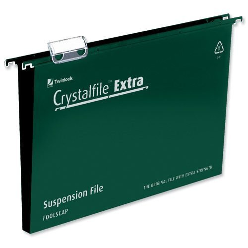 Crystalfile Extra Files Foolscap 50mm Green Rexel 3000112 [Pack 25] | Made from tough polypropylene | Tabs & Inserts | Fusion Office UK