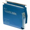 Crystalfile Extra 275 Lateral 30mm Blue Files Rexel 70642 [Pack 25] | Made from tough polypropylene | With Tabs & Inserts | Fusion Office UK