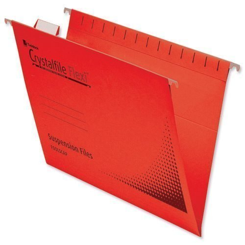 Rexel Crystalfile Flexi Files Foolscap Red 3000042 [Pack 50]   100% recycled premium manila   Brightly Coloured   Fusion Office UK