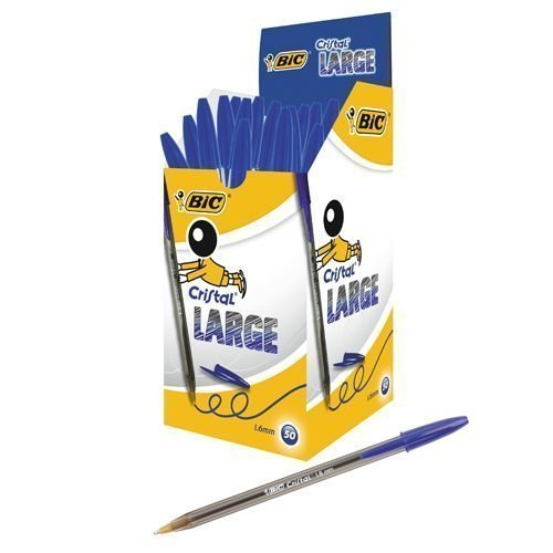 BIC Cristal Large Blue Ball Pen 880656 [Pack 50]   With a larger tip to make it easier to hold & creating a bold line   Fusion Office UK