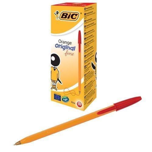 BIC Orange Original Fine Red Ball Pen 1199110112 [Pack 20] | Fine-point 0.8mm tip, makes it better-suited to precise jobs | Fusion Office UK