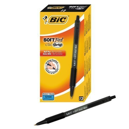 BIC Soft Feel Black Medium Retractable 837397 [Pack 12] | designed for the ultimate in writing comfort | Fusion Office UK