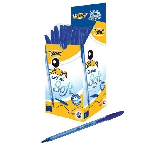 BIC Cristal Soft Blue Ball Pen 918519 [Pack 50]   High-performance of the iconic Cristal   Fluidity from smooth ink flow   Fusion Office UK