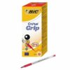BIC Cristal Grip Medium Red Ball Pen 802803 [Pack 20] | With cushioned grip for comfortable writing & extra control | Fusion Office UK