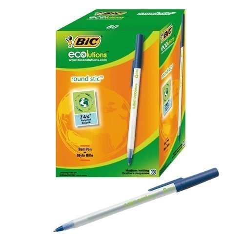 BIC ECOlutions Round Stic Blue Ball Pen 893240 [Pack 60]   Made from 74% recycled material   Comfortable to write with   Fusion Office UK