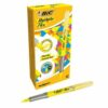 BIC Flex Highlighter Yellow 942040 [Pack 12]   Highlighter with a Flex Brush Tip   Fine / Medium / Large   Fusion Office UK