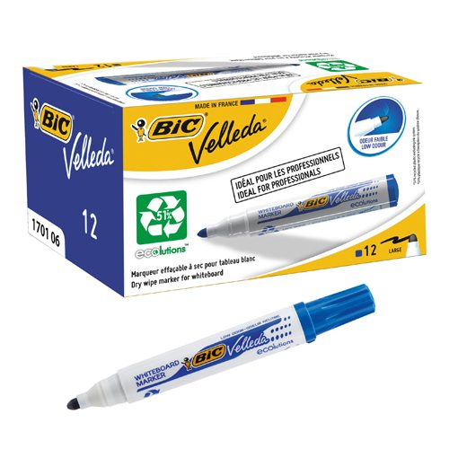 BIC Velleda 1701 Blue Whiteboard Markers 942235 [Pack 12] | Its acrylic bullet tip means you can have more control | Fusion Office UK