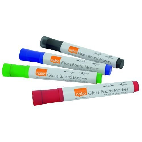 Nobo Glass Board Markers Assorted Colours 1905324 [Pack 4] | Glass dry wipe markers delivering bold colour & superior ink | Fusion Office UK