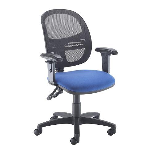Jota Mesh medium back operators chair with adj/arms Blue DAMS VMH12-000-BLU   Sleek Design   Fusion Office