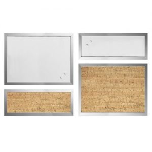 Bi-Office Positive Flow Metallic Silver Message Board [Pack 4]