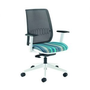 Reed Mesh Back Operator Chair White Frame Adjustable Arms REE300T1-WH