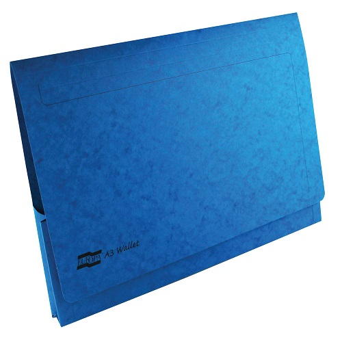 Europa Pocket Wallets A3 Blue 4785Z [Pack 25] | Document wallet for easy storage of large A3 paper | Fusion Office UK