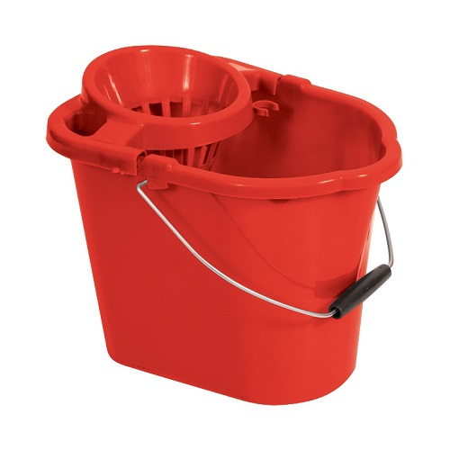 Oval Mop Wringer Bucket 12 Litres Red   Great value blue mop bucket   Ideal for colour coded cleaning   Fusion Office