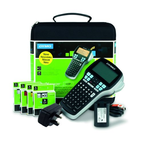 DYMO D1 LabelManager 420P Kit Label Maker S0915480   Kit includes: Case, AC Adaptor, Tapes & Rechargeable Battery   Fusion Office