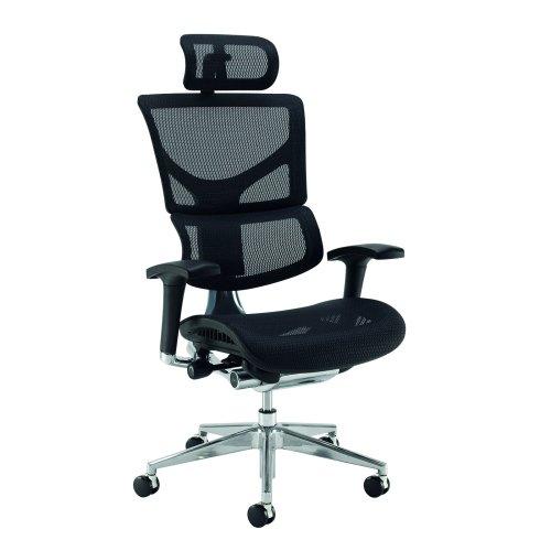 Dynamo Ergo mesh back posture chair with chrome base with Headrest Black DAMS DYNX301E1-C | Fusion Office