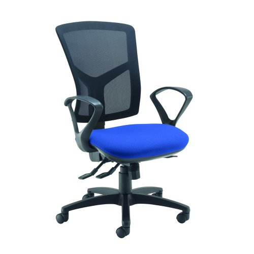 Senza high mesh back operator chair with fixed arms Blue DAMS SM43-000-BLU   Asynchro mechanism, lockable seat/back   Fusion Office