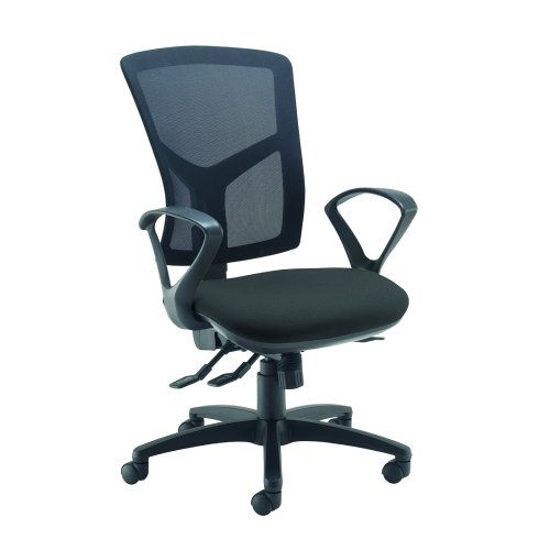 Senza high mesh back operator chair with fixed arms Black DAMS SM43-000-BLK | Asynchro mechanism, lockable seat/back | Fusion Office