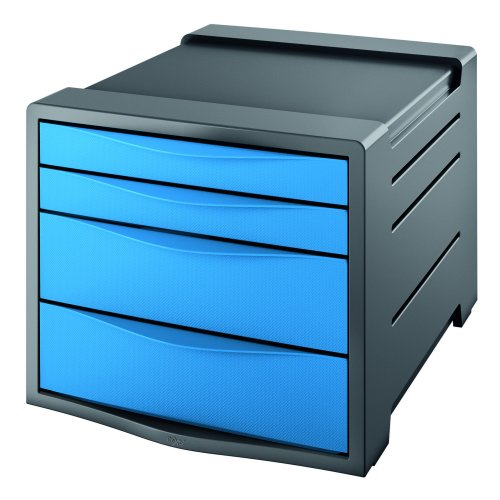 Rexel Choices Drawer Cabinet Blue 2115611 | Features two small & two larger drawers | Non slip | Stackable up to 3 high | Fusion Office UK