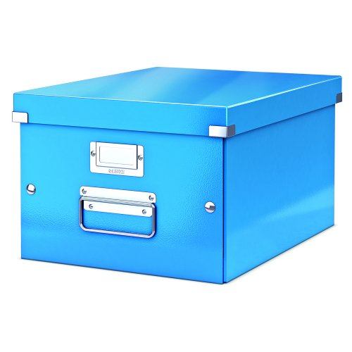 Leitz Medium Box Blue Click & Store 60440036 | Sturdy metal handles for easy transportation and a label holder | Fusion Office UK