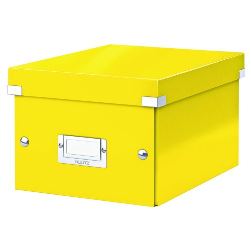 Leitz Medium Box Yellow Click & Store 60440016 | Sturdy metal handles for easy transportation and a label holder | Fusion Office UK
