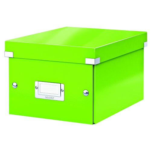 Leitz Medium Box Green Click & Store 60440054 | Sturdy metal handles for easy transportation and a label holder | Fusion Office UK