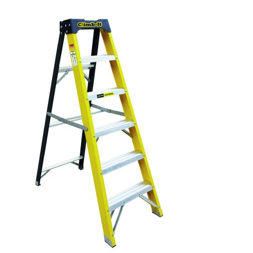 Climb-It Glass Fibre Swingback 7-Tread Stepladder GFS37Z | Lightweight and easy to carry | Insulated to 30000 Volts | Fusion Office UK