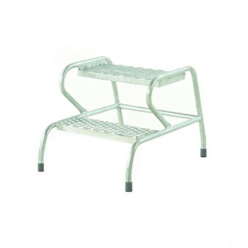 Stable Mobile Steps 2-Step Galvanised GS3002G   Open mesh treads for safe use with muddy boots & dirty environments   Fusion Office UK