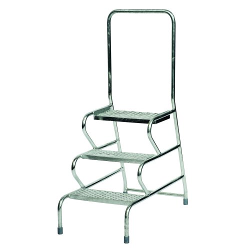 Stable Mobile Steps/Handrail 3-Step Galvanised GS3013G | Open mesh treads for use with muddy boots & dirty environments | Fusion Office UK