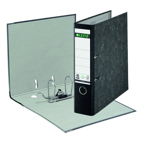 Leitz Lever Arch Foolscap Portrait Files Black 1082-95 [Pack 10]   Made from 100% recycled strengthened board   Fusion Office UK