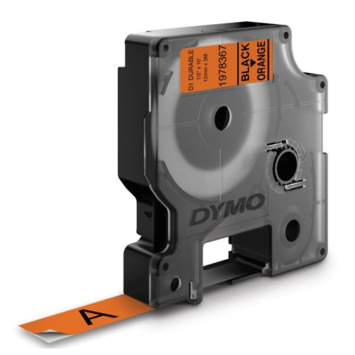 Dymo D1 Durable Tape for Electronic Labelmakers 12mmx3m Black on Orange Ref 1978367 | Authentic DYMO | Fusion Office