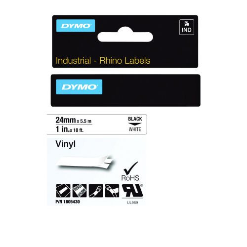 DYMO Industrial Rhino Label Tape Vinyl 24mm Black on White 1805430 | Developed for heavy duty environments | Fusion Office