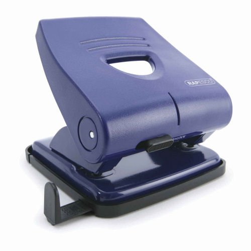 Rapesco 827-P 2-Hole Punch Blue PF827PL2 [30 Sheets]   Robust with all metal working parts for reliable hole punching   Fusion Office UK