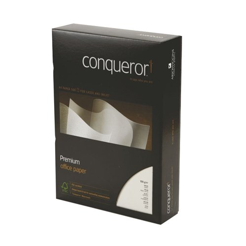 Conqueror Wove Oyster Paper A4 100gsm [500 Sheets] | Superb high-contrast matt printing | Watermarked | Fusion Office UK