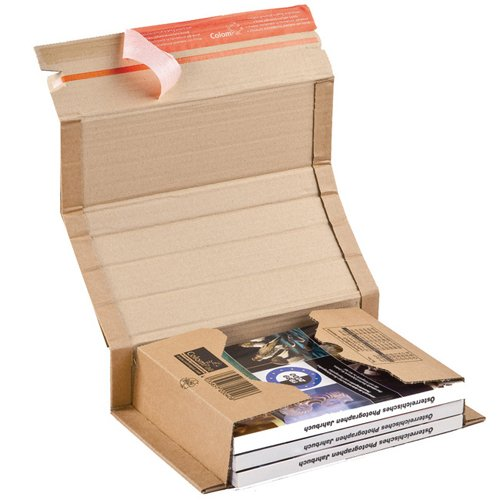 ColomPac CP020.04 Postal Wraps 251x165x60mm Brown (Pack 20) | Self Sealing | Integrated Tear Open | Variable Depth | Fusion Office UK