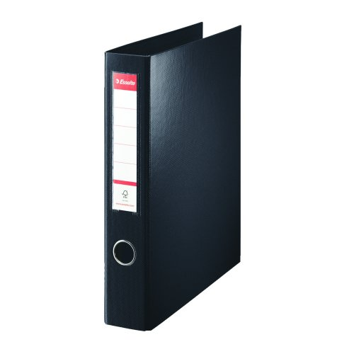 Esselte 4D Ring Binder Black A4 40mm PP 82407 | Highly resitant PP cover inside and outside | Spine pocket & Thumbhole | Fusion Office UK