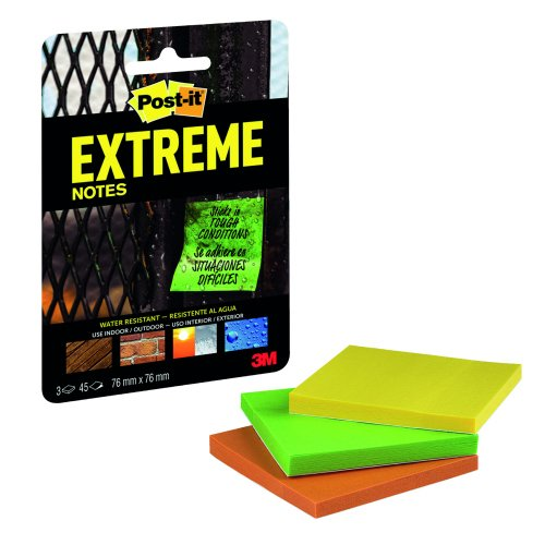 3M EXT33M-3-UKSP Post-it Extreme Notes 76x76 Assorted [Pack 3] | Water resistant, durable & writable | Indoor/Outdoor | Fusion Office UK