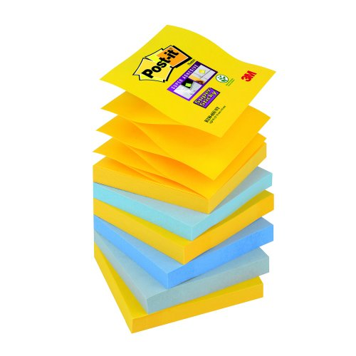 3M R330-6SS-NY Post-it Super Sticky New York Z-Notes [Pack 6] | Colourful Notes are inspired by colourful cities | Fusion Office UK
