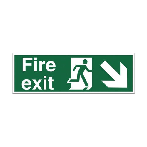 Fire Exit Arrow Down Right Sign 450x150mm Self Adhesive Vinyl