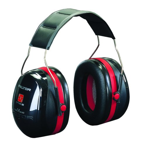 3M H540A-411-SV PELTOR Optime III Earmuffs 35dB Black/Red Headband | Reduces noise levels up to 35 dB | Double casing | Fusion Office UK