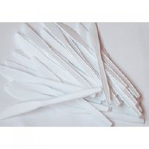 Plastic Knives White Disposable [Pack 100]   Disposable white plastic knives   Ideal for office catering buffets   Fusion Office UK