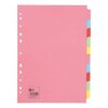 Subject Dividers 10 Part A4 Assorted Colours [Pack 10] - 100% recycled - Index Dividers - Fusion Office