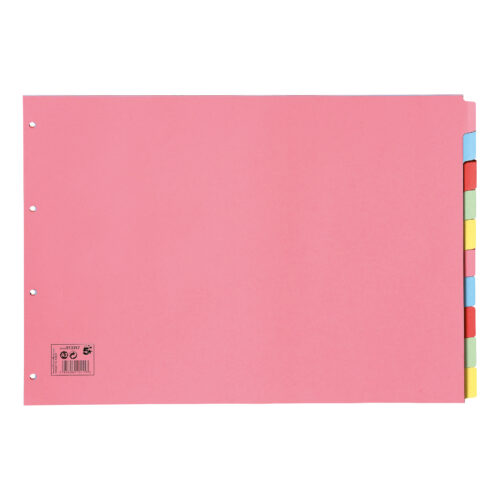 Subject Dividers A3 Oblong 10 Part Assorted Colours - 100% recycled - Index Dividers - Fusion Office