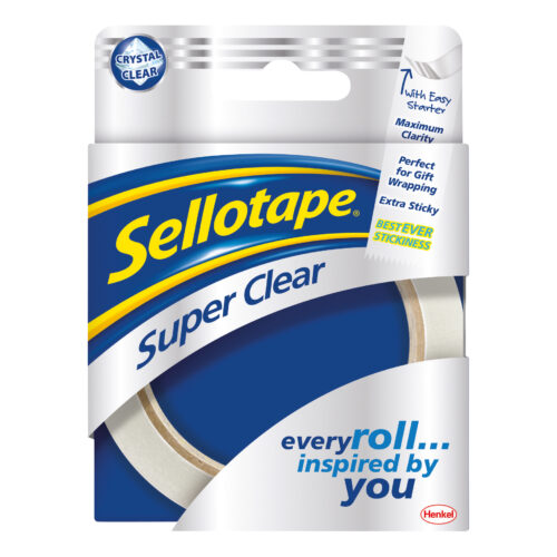 Sellotape Super Clear Tape 24mmx50m Roll 1569087 [Pack 6] | A quality premium tape for a professional finish | Fusion Office UK