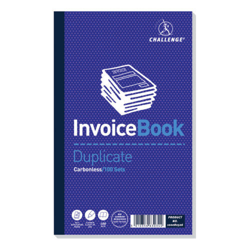 Challenge Invoice Books No VAT Duplicate 100080526 [Pack 5] | Make instant copies of your hand written invoices | Fusion Office UK