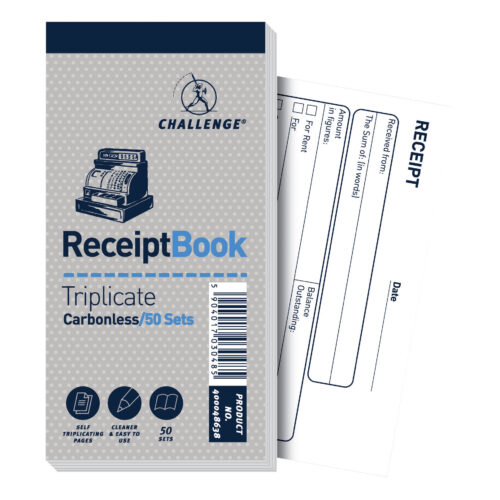 Challenge Triplicate Receipt Books 400048638 [Pack 10]   Make instant copies of your hand written records   Fusion Office UK
