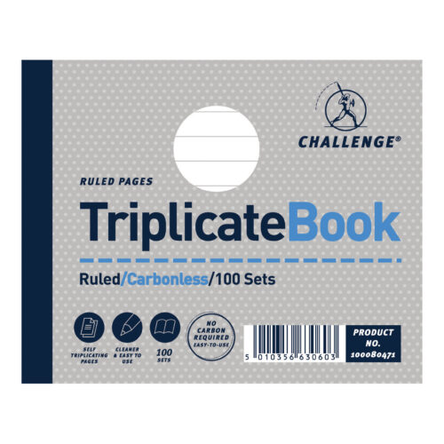 Challenge Triplicate Books Ruled 105x130 100080471 [Pack 5] | Triplicate copies without the need for carbon paper | Fusion Office UK